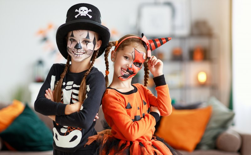 two girls dressed up for Halloween