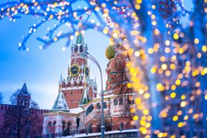 the Kremlin decorated for the holidays